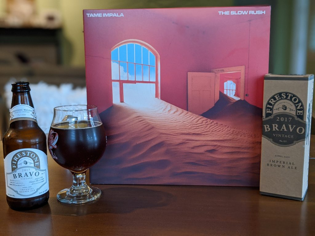 Family portrait of Tame Impala's Slow Rush and Firestone Walker's Bravo